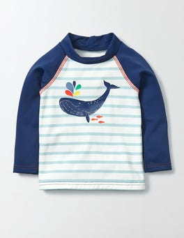 Ivory/Mineral Blue/Whale Baby Rash Vest