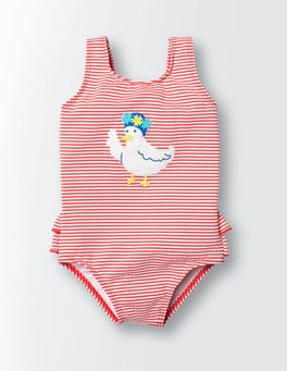 Raspberry Whip Stripe/Duck Baby Swimsuit