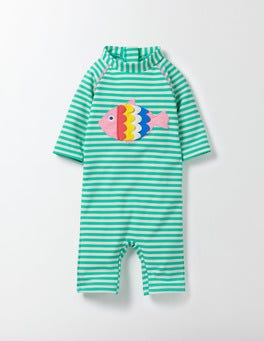 Waterfall/Ivory Stripe/Fish Fluttery Fish Surf Suit