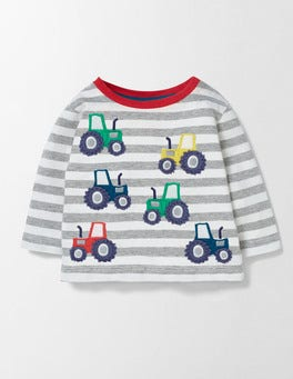 Grey Marl/Tractors Fun Striped T-Shirt
