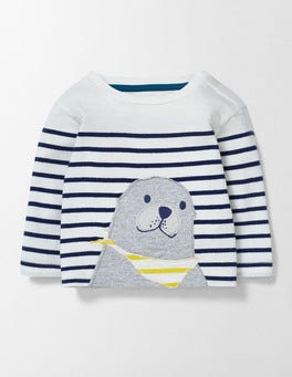 Ivory/Beacon Stripe Fun Animal T-shirt