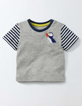 Grey Marl/Puffin Fun Pocket T-Shirt
