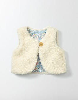 Mini Ecru Fleecy Gilet