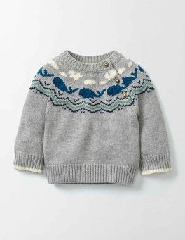 Grey Marl Knit Whales Knitted Jumper