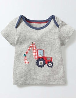 Grey Marl/Digger Vehicle Appliqué T-shirt