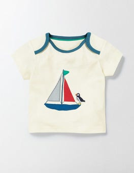 Ecru/Sail Boat Vehicle Appliqué T-shirt