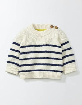 Mini Ecru/Beacon Striped Jumper