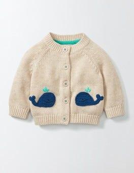 Oatmeal Marl Whales Crochet Cardigan