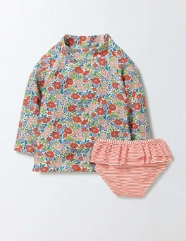 Peach Sorbet Mini Flower Bed Baby Rash Guard & Pant Set