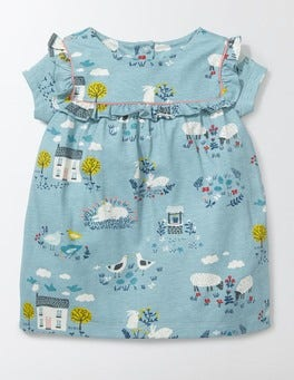 Mineral Blue Spring Farm Pretty Printed Jersey Dress