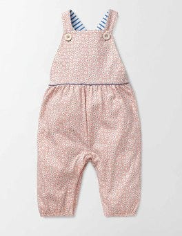 Peach Sorbet Poppy Ditsy Printed Ruffle Dungarees