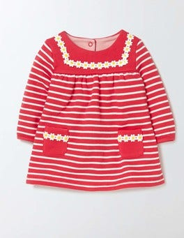 Ivory/Raspberry Whip Stripe Cosy Sailor Dress