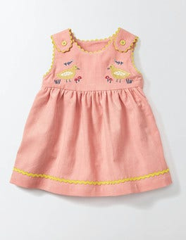 Chalky Pink Farmyard Friends Cord Dress