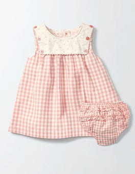 Chalky Pink Gingham Nostalgic Sailor Dress