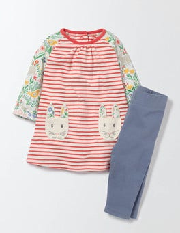 Multi Spring Meadow Bunny Pocket Dress & Leggings