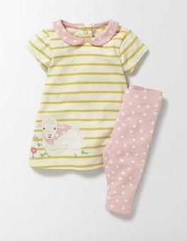 Cantaloupe Stripe/Lamb Appliqué Dress & Leggings Set