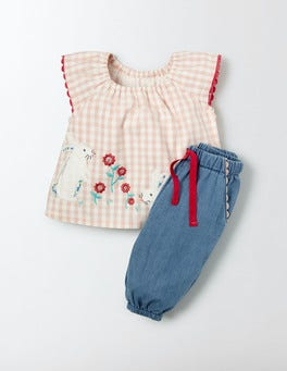 Chalky Pink Gingham/Bunnies Pretty Appliqué Play Set