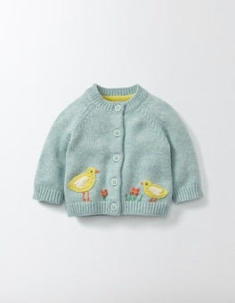 Sea Foam/Birds Farmyard Crochet Cardigan