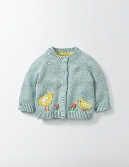 Sea Foam/Birds Farmyard Crochet Cardigan