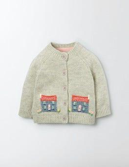 Silver Marl/Houses Farmyard Crochet Cardigan