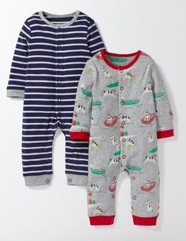 Grey Marl Seaside Sprouty Seaside Twin Pack Romper