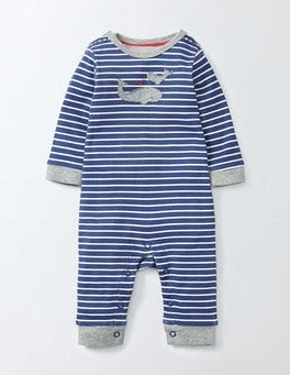 Sandown Blue/Ivory Stripe Whale Appliqué Romper