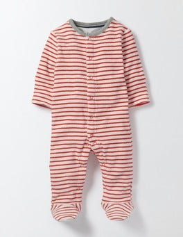 Ivory/Red Crayon Stripe Stripy Towelling Sleepsuit