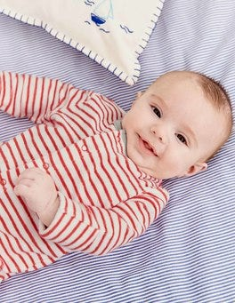 Stripy Towelling Sleepsuit