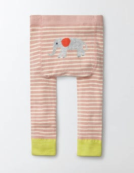 Chalky Pink and Ivory Stripe Knitted Leggings