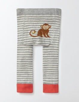 Grey Marl and Ecru Stripe Knitted Leggings