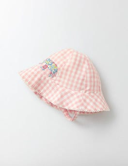 Chalky Pink Gingham Pretty Woven Hat