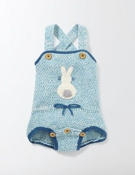 Delphinium Blue Retro Knitted Romper