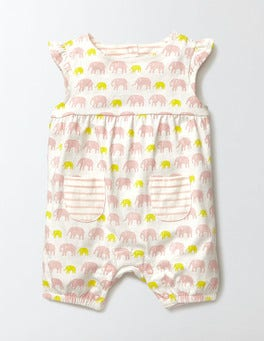 Chalky Pink Baby Elephants Summer Jersey Romper
