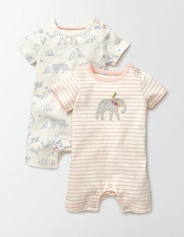 Ivory Story Book Storybook Twin Pack Rompers