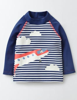 Deep Sea/Ivory Stripe/Plane Baby Rash Vest