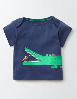 Dusky Blue/Crocodile Big Appliqué T-shirt