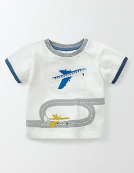 Ivory/Planes Vehicle Appliqué T-Shirt