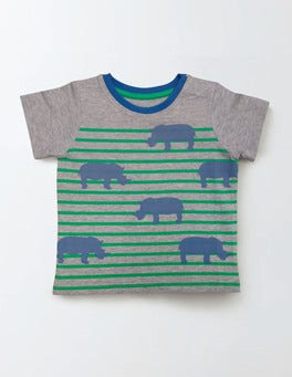 Grey Marl/Rhinos Summer Stripy T-shirt