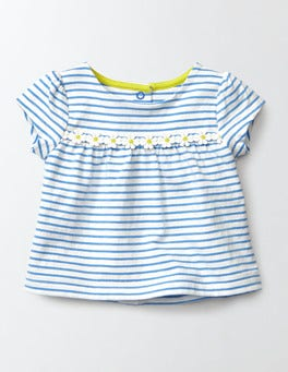 Ivory/Bright Bluebell Stripe Pretty Trim T-Shirt