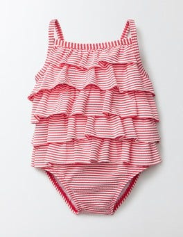 Raspberry Whip/Ivory Stripe Baby Ruffle Swimsuit