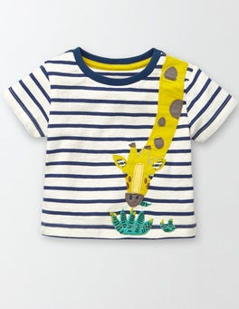 Ivory/Dusky BlueStripe/Giraffe Animal Antics T-Shirt