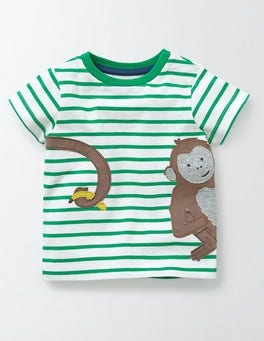 Ivory/Astrogreen Stripe/Monkey Animal Antics T-shirt