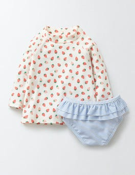Coral Crush Strawberries Baby Rash Vest & Pant Set