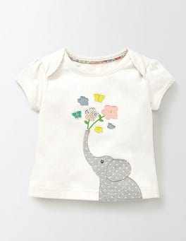 Ivory/Elephant Pretty Patchwork T-shirt
