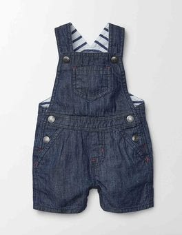Mid Denim Dungaree Shorts