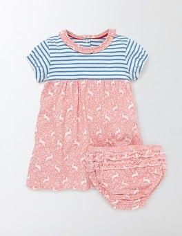 Peach Sorbet Bunnies Woodblock Hotchpotch Jersey Dress