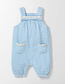Ivory/Bright Bluebell Stripe Fun Dungarees