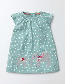 Sea Foam Confetti Spot Summer Jersey Appliqué Dress
