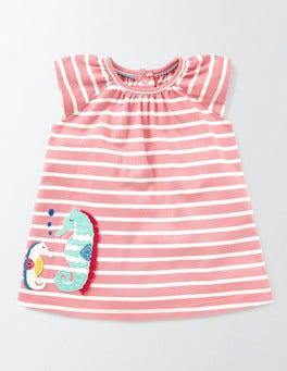 Peach Sorbet/Ivory Stripe Summer Jersey Appliqué Dress