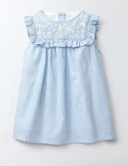 Bright Bluebell Stripe/Flowers Embroidered Ruffle Dress